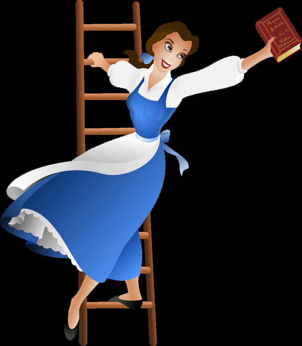 Book library belle disney. Clipart books ladder