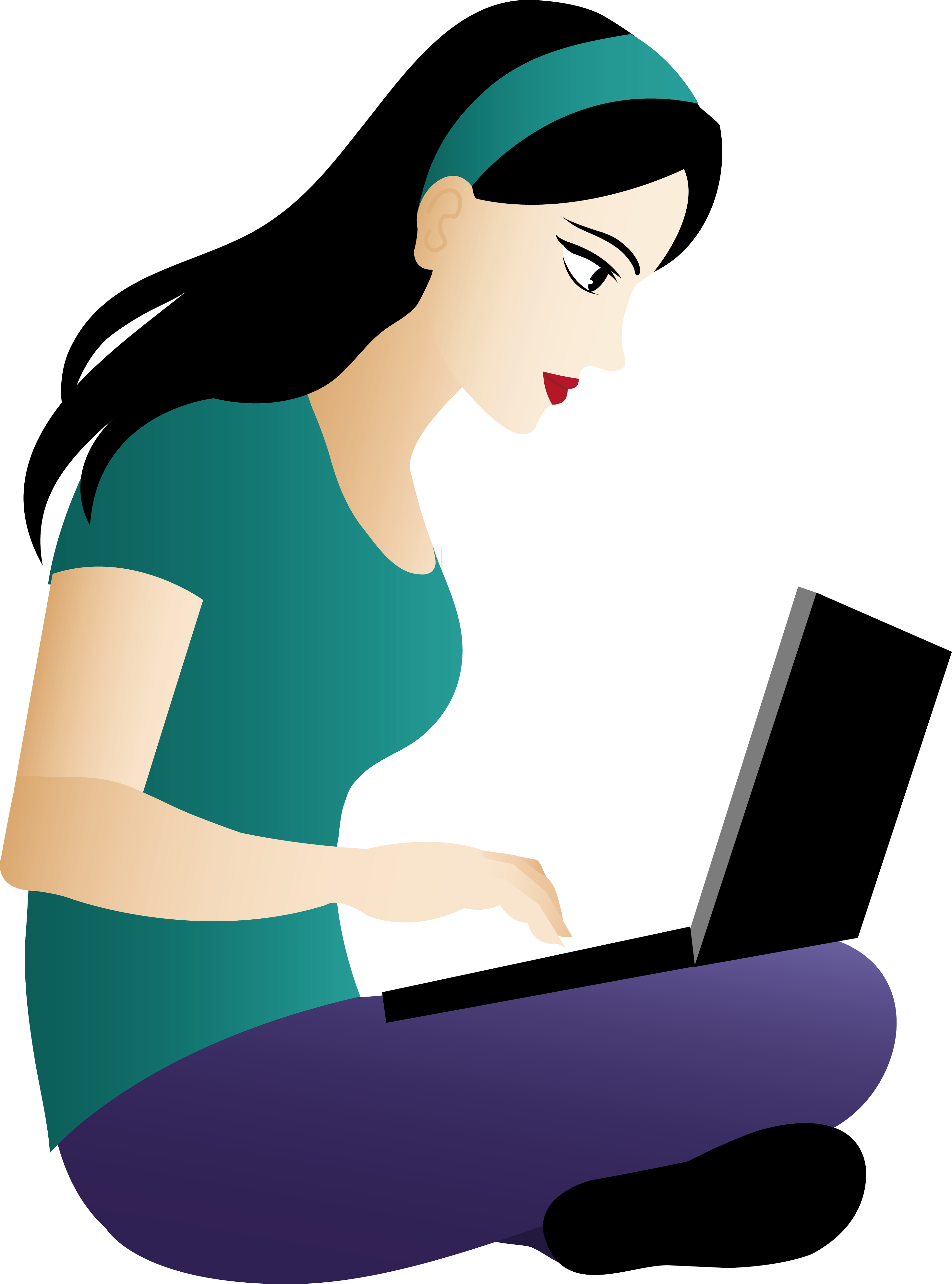 collection of woman. Young clipart sit