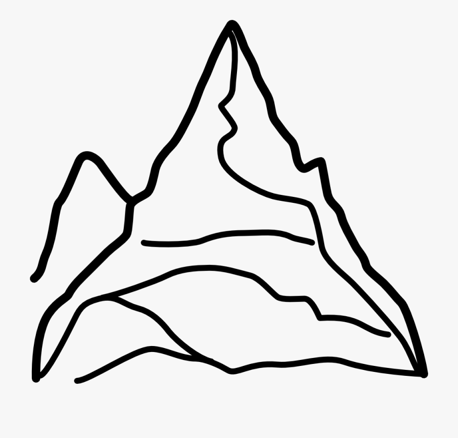Clip art black and. Mountain clipart line drawing