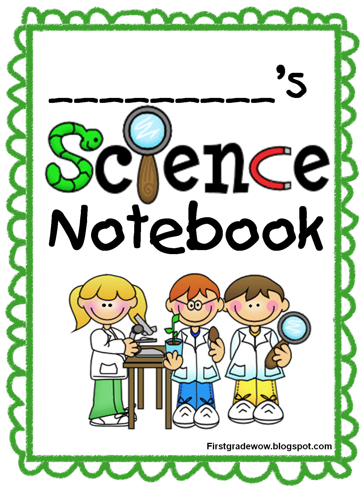 Words clipart journal. Kids science notebook start