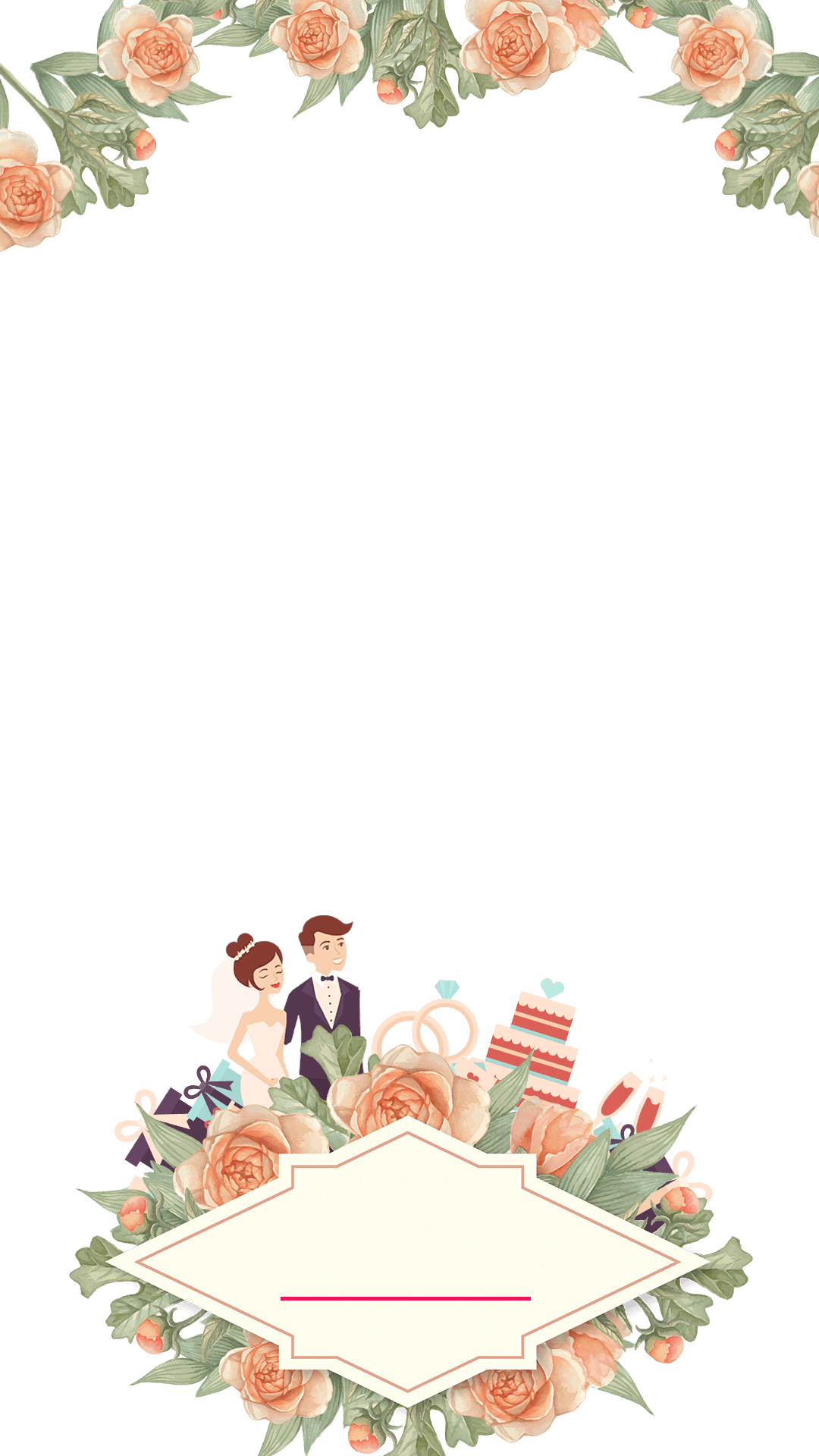Wedding snapchat filter geofilter. Floral clipart pastel