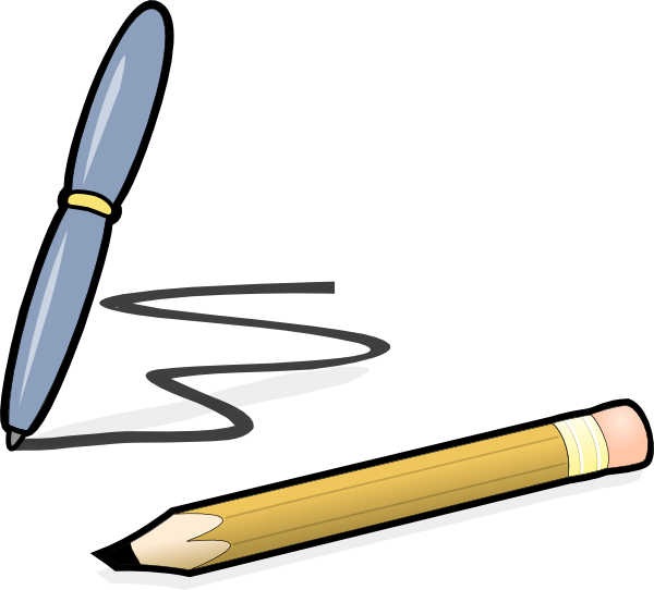 Pencil clip art at. Poetry clipart pen and paper