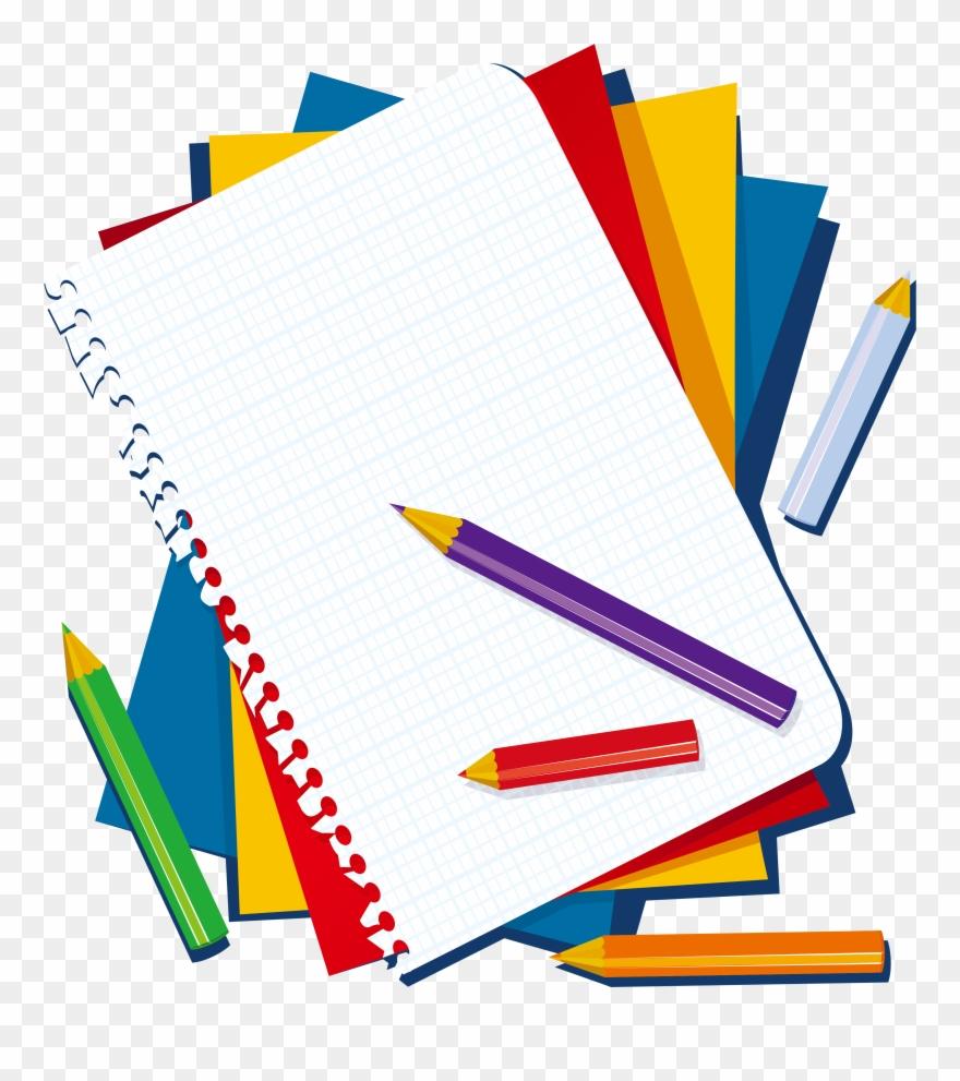 Colored clip art notebook. Pencil clipart book