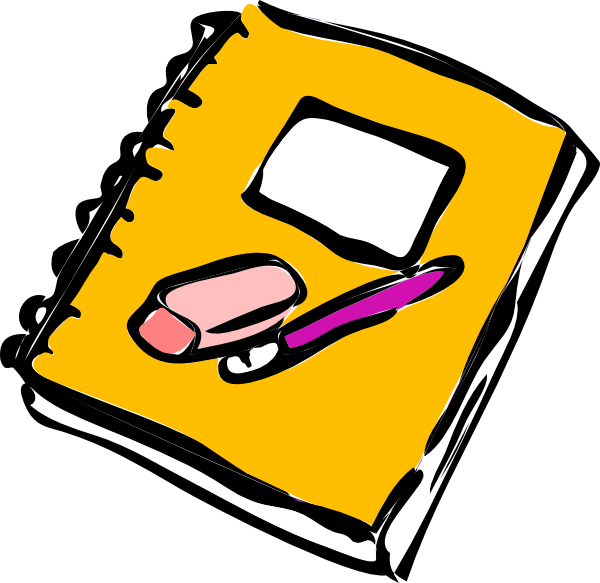 Pencil eraser and clip. Poetry clipart learning journal