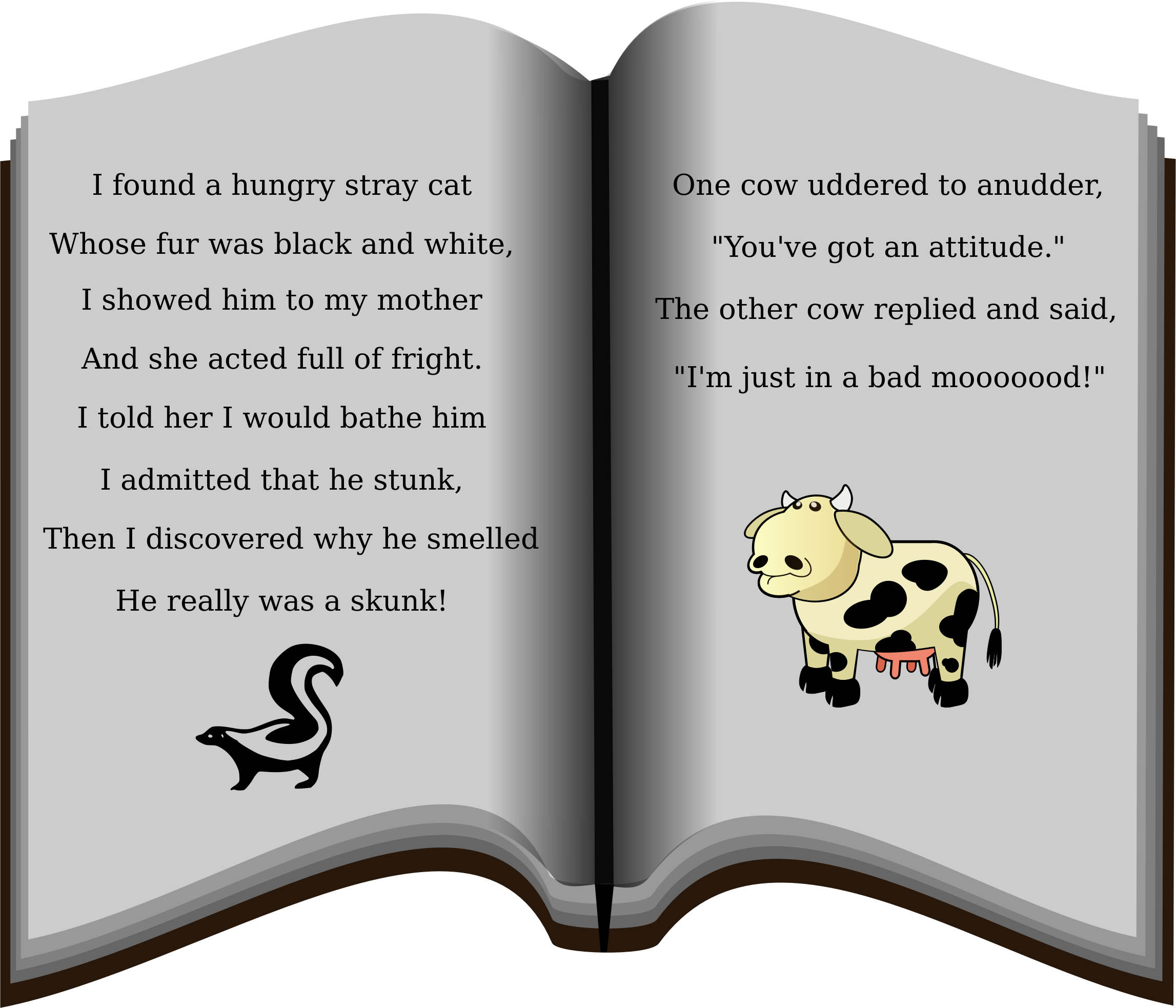 Book of poems big. Clipart cow attitude