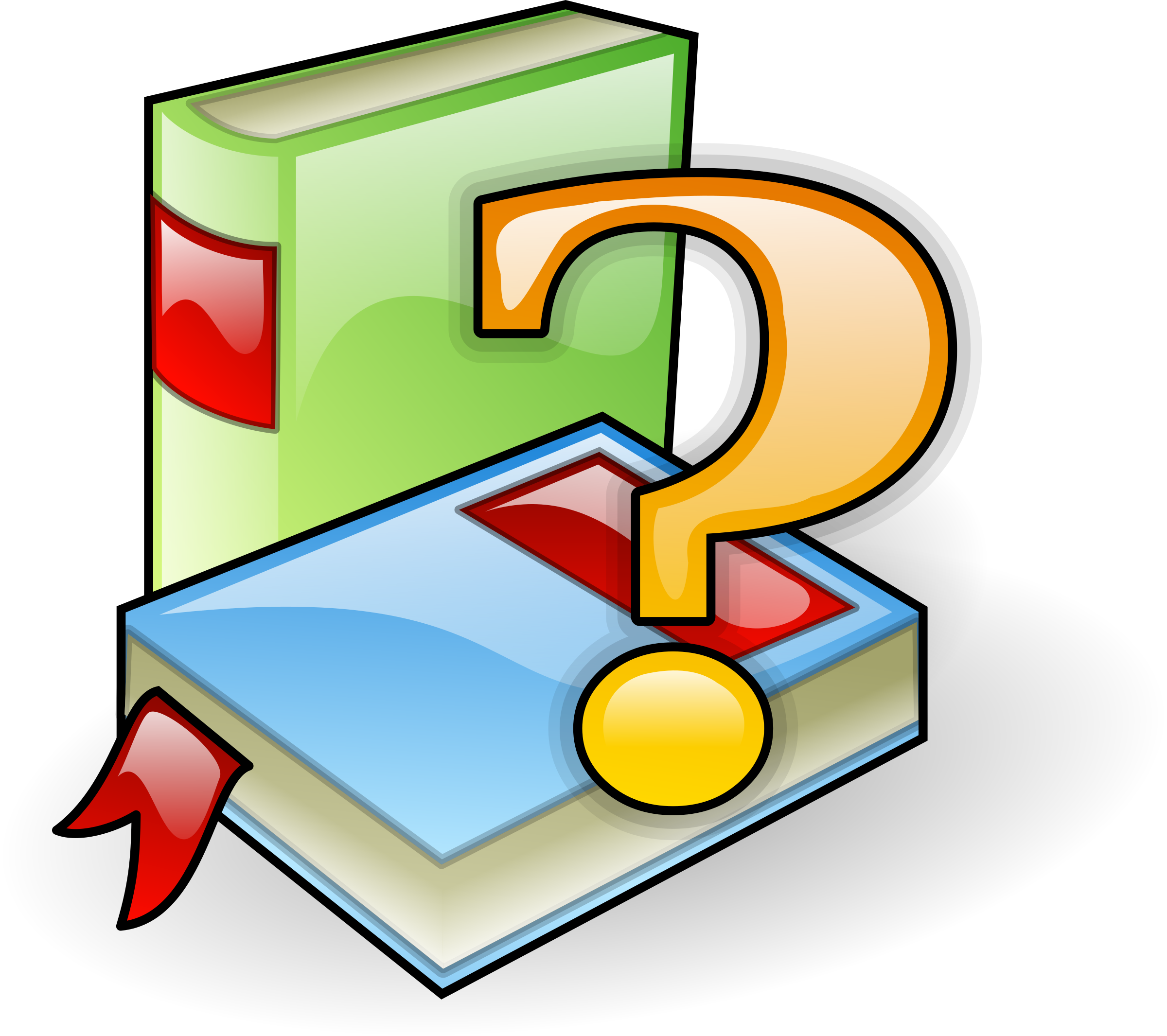 Books with question mark. Dictionary clipart research
