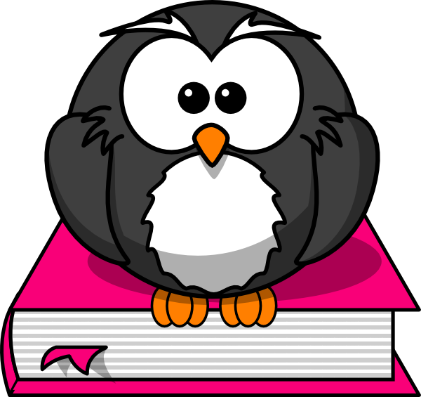 Clipart book rating. Charcoral owl on pink