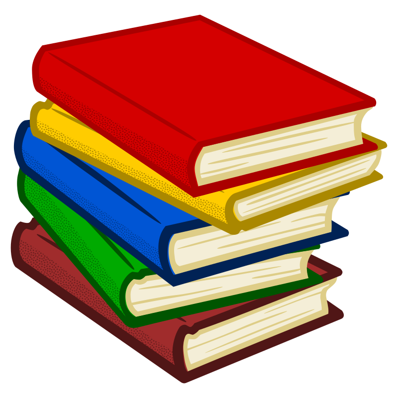 Books coloured medium image. Textbook clipart colourful book