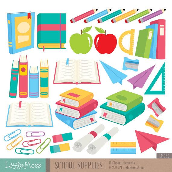 Supplies digital books pencil. Clipart book school supply