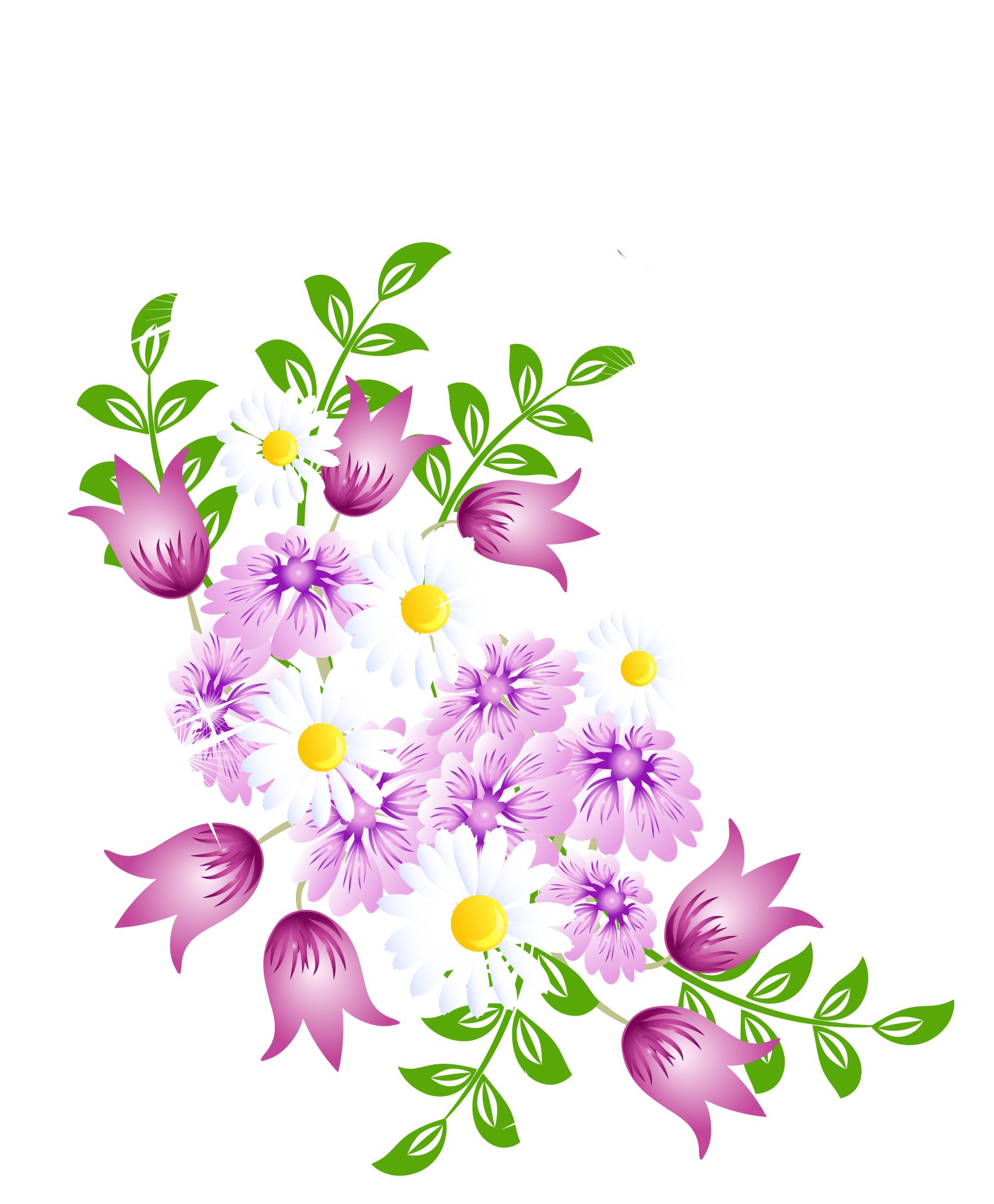 Spring flowers decor png. E clipart flower