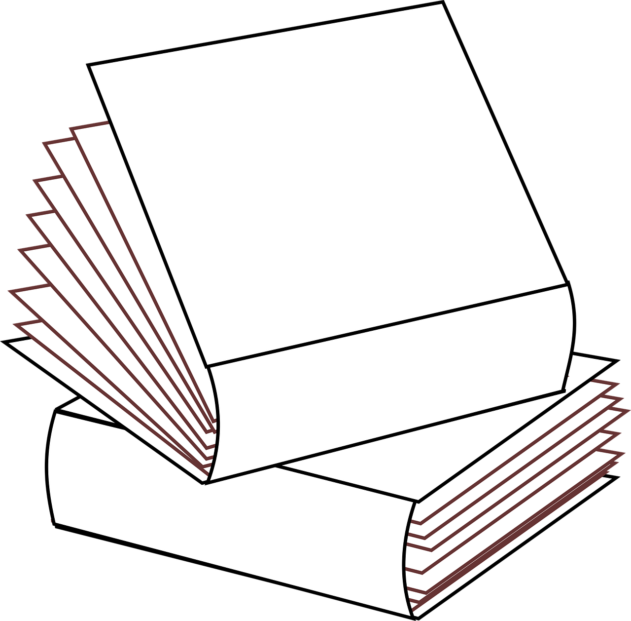 Books no colors multiple. Clipart book stacked