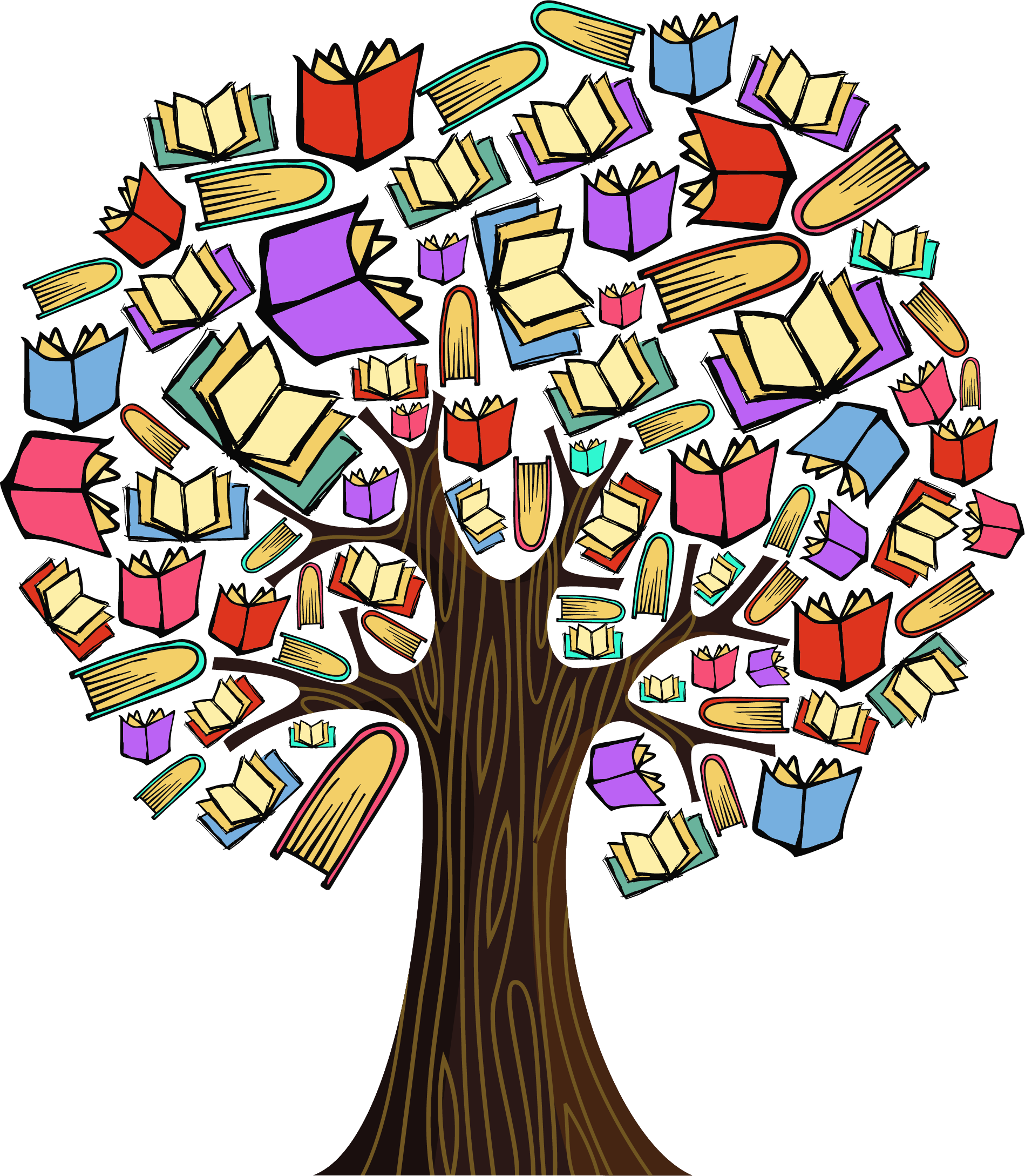 Clipart book tree. Colourful milk education specialist