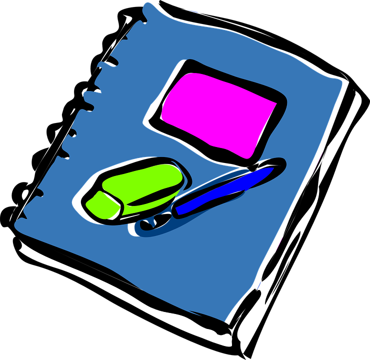 Journal clipart school supply. Book and pen free