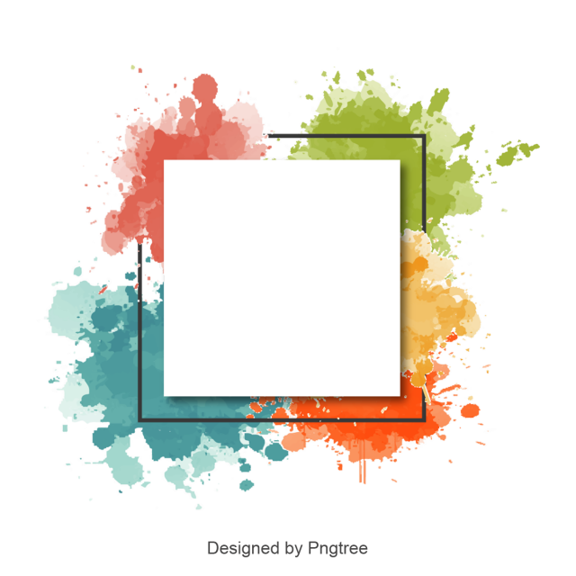 Color clipart abstract. Watercolor border frame picture