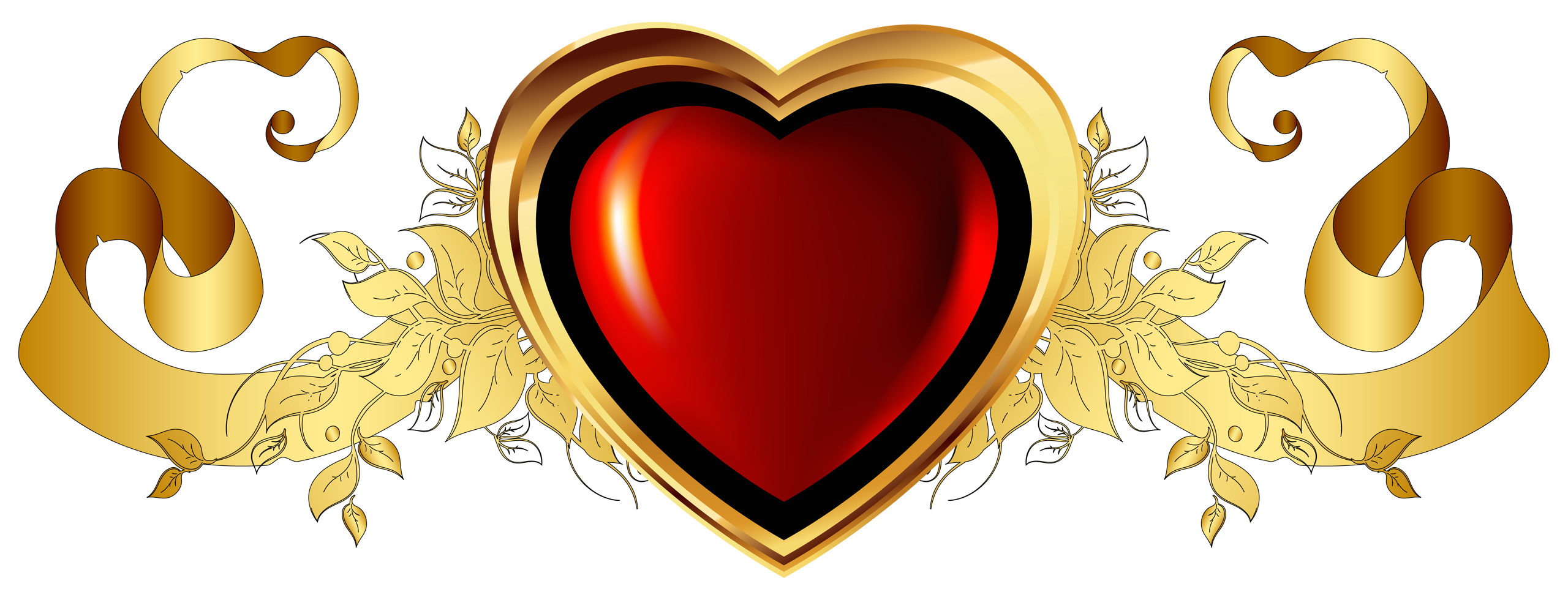 Waves clipart heart. Large red with gold