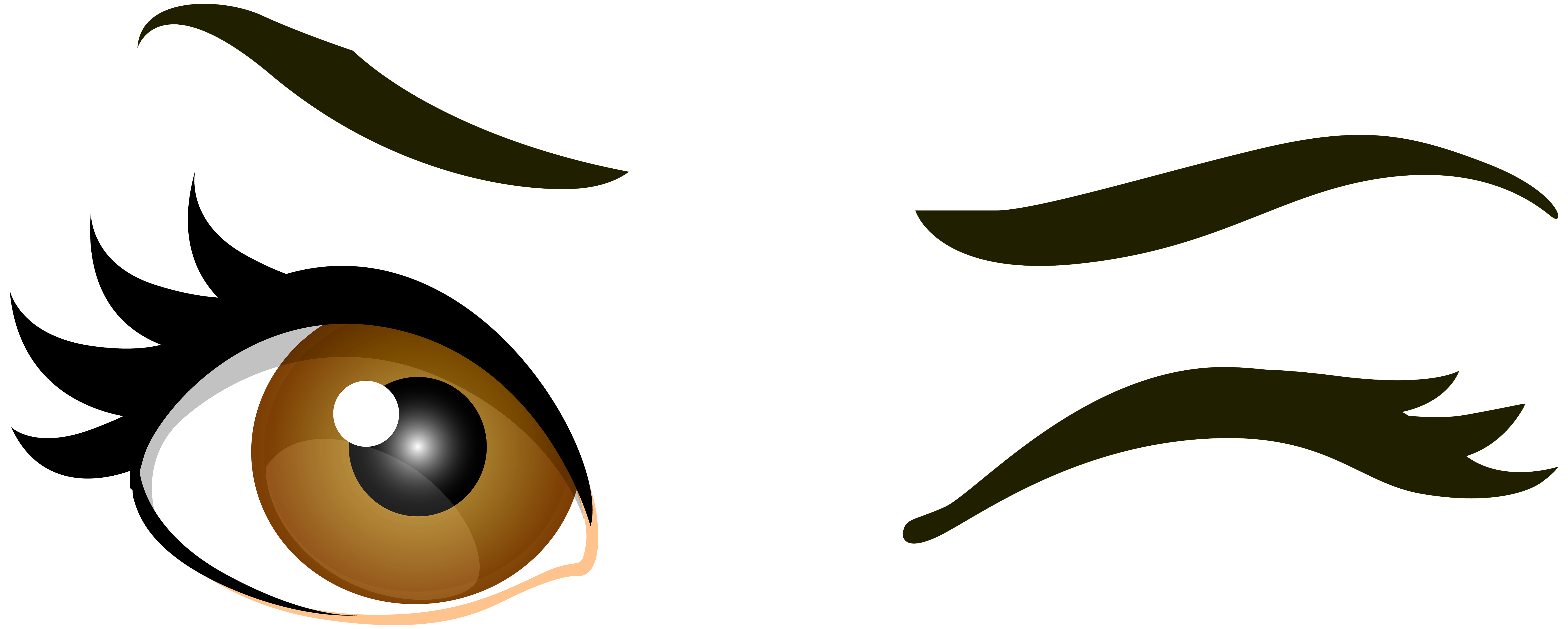 Brown winking eyes png. Clipart mustache eye