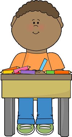 Desk clipart preschool. Student doing school work