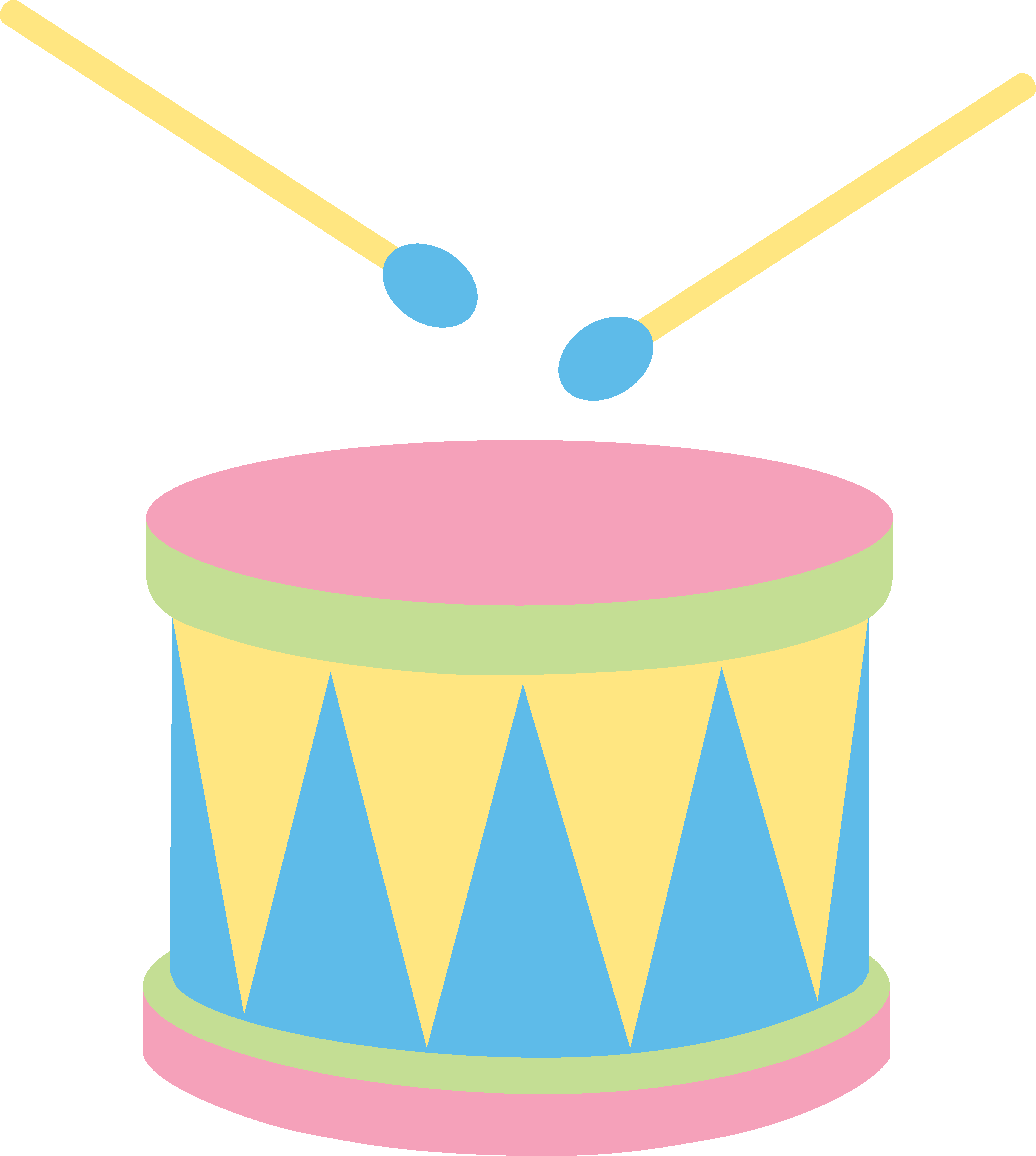 Pastel colored drum musical. Drums clipart pink