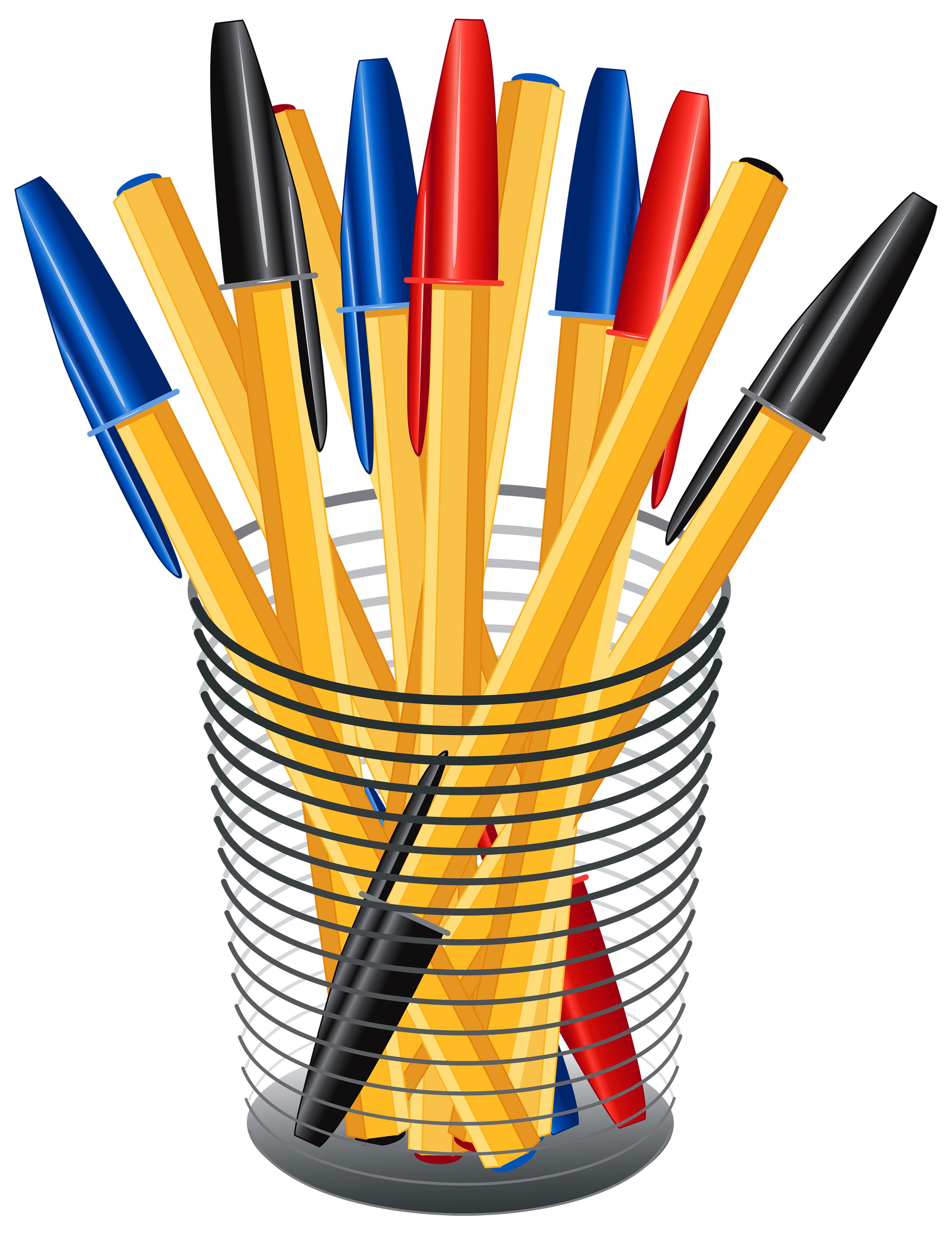 Clipart books pen. Metal cup with pens