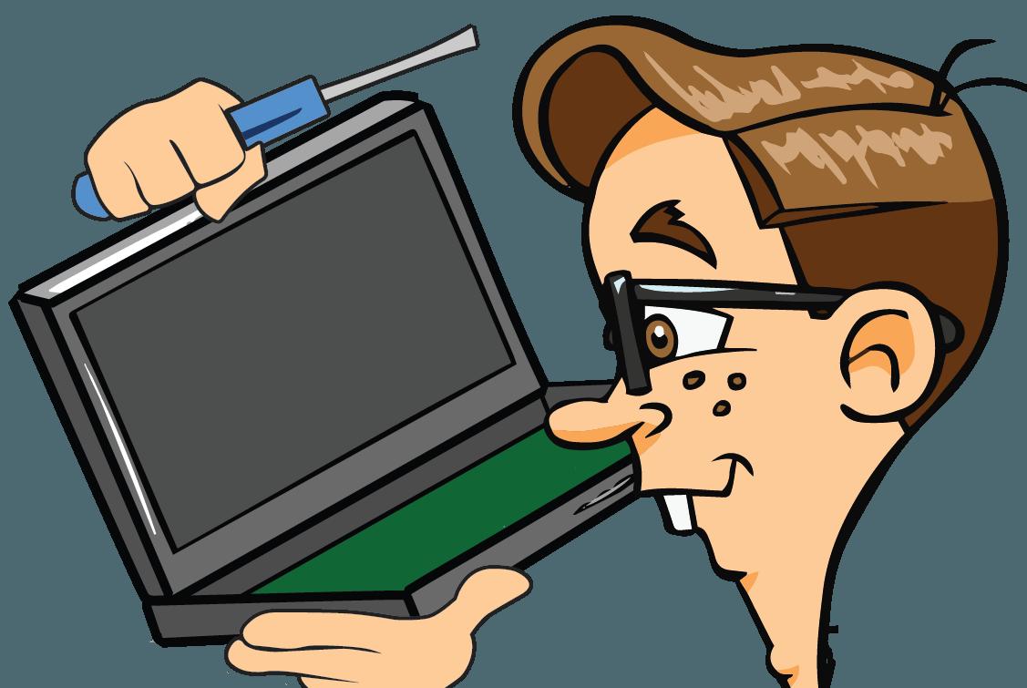 Laptop repair nerds on. Mechanic clipart happy