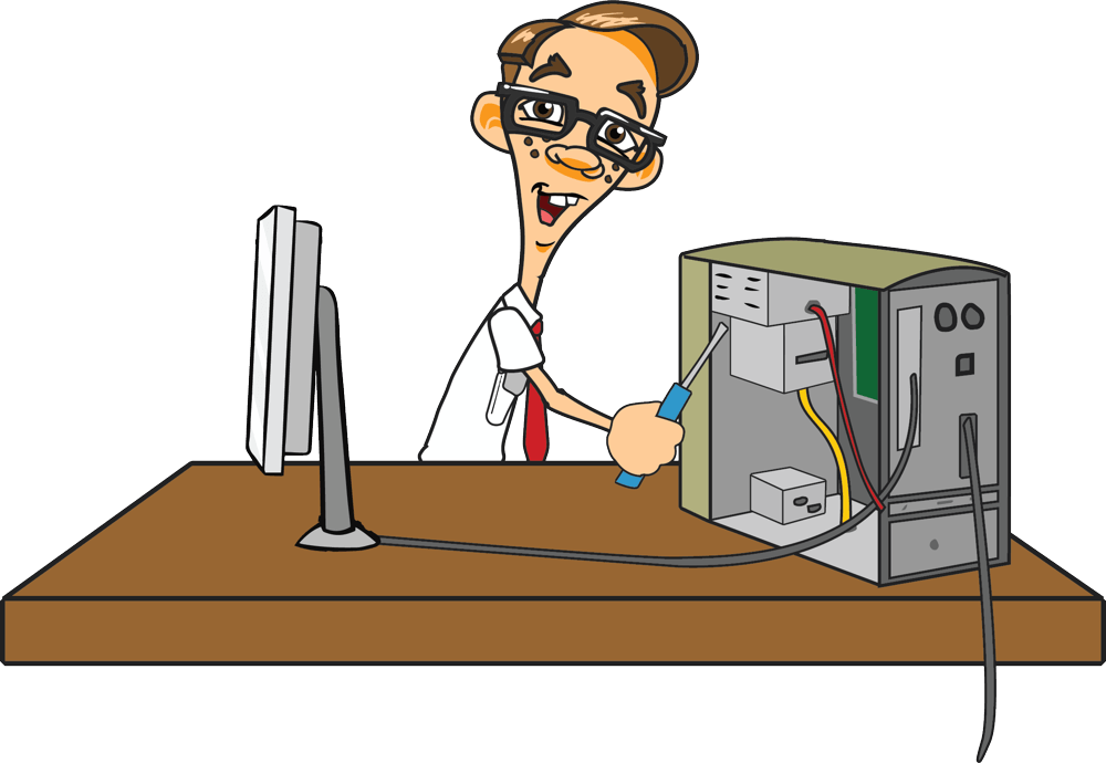 Computer repair services nerds. Mechanic clipart troubleshooting