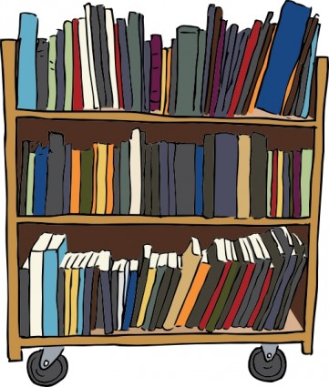 Library book cart clip. Clipart books self