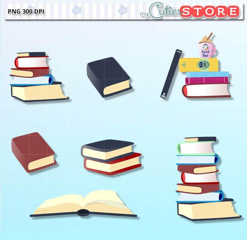 Clipart books shadow. Doodle cute cli part
