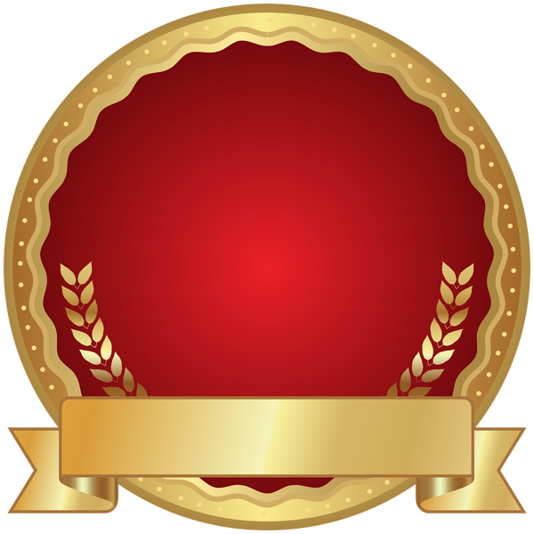 Plaque clipart gold. Red seal badge transparent
