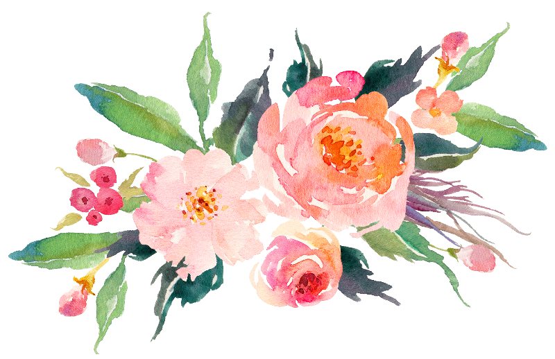 Pink watercolor flowers gifts. Wet clipart water flower