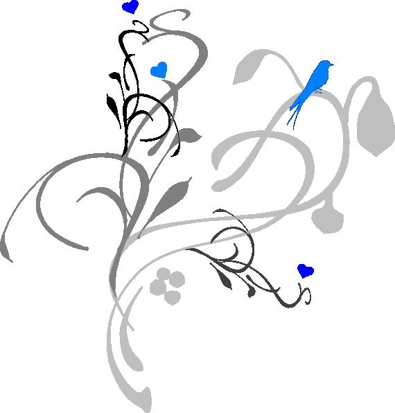 Blue bird on grey. Vines clipart flowering vine