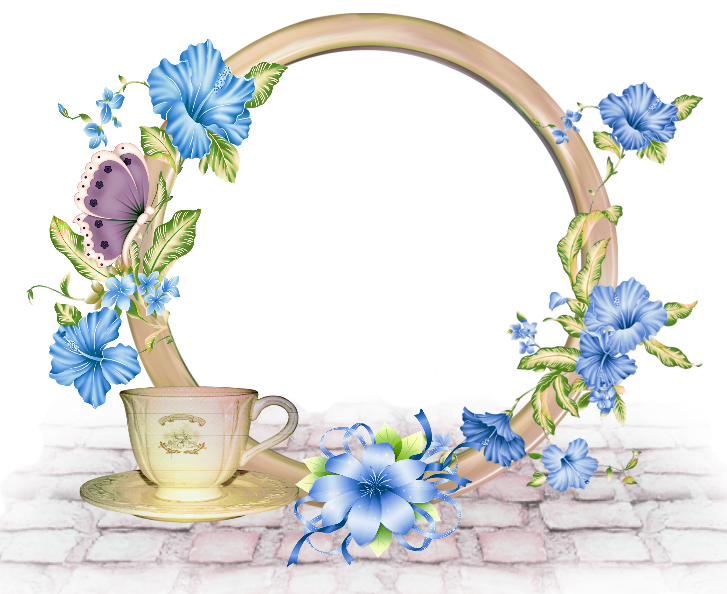 Cute round png photo. Frame clipart blue flower