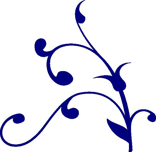 Flourish clipart small. Blue flower vine clip
