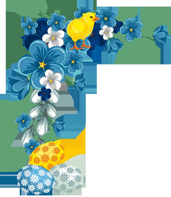 Easter corner border frames. Clipart frame blue flower