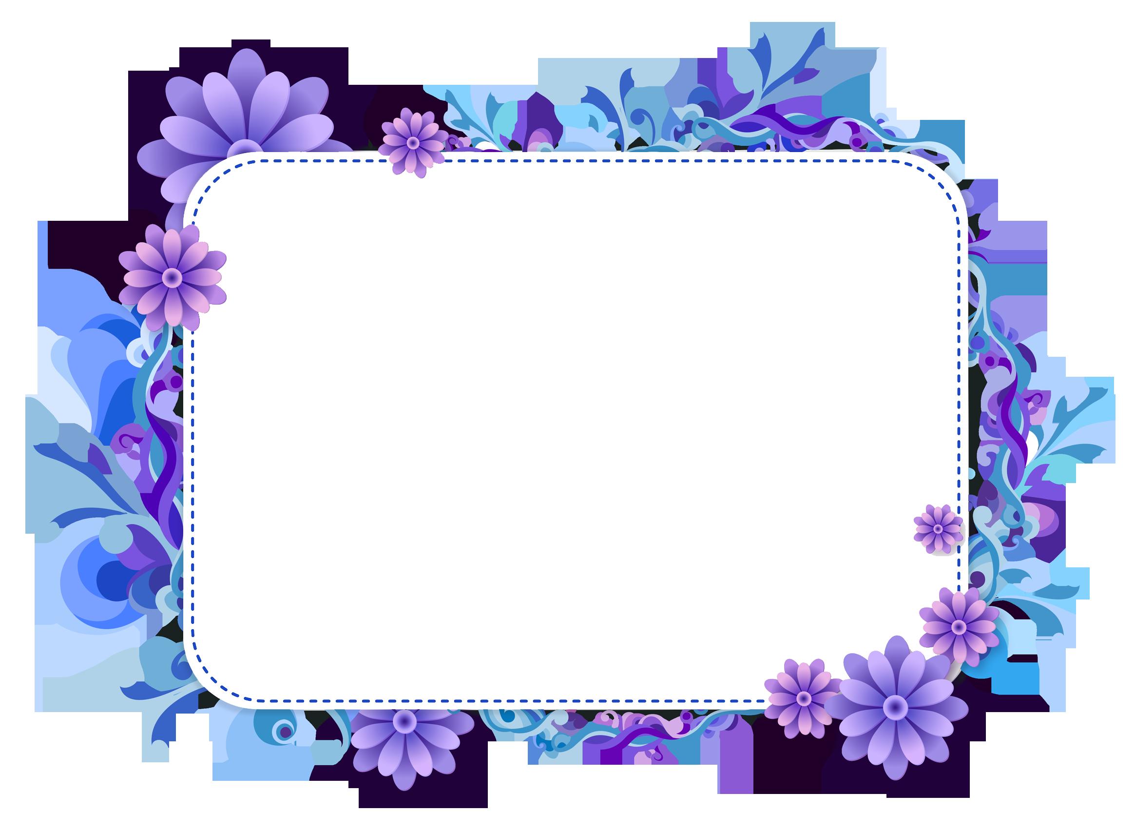 Picture clip art border. Frames clipart blue flower