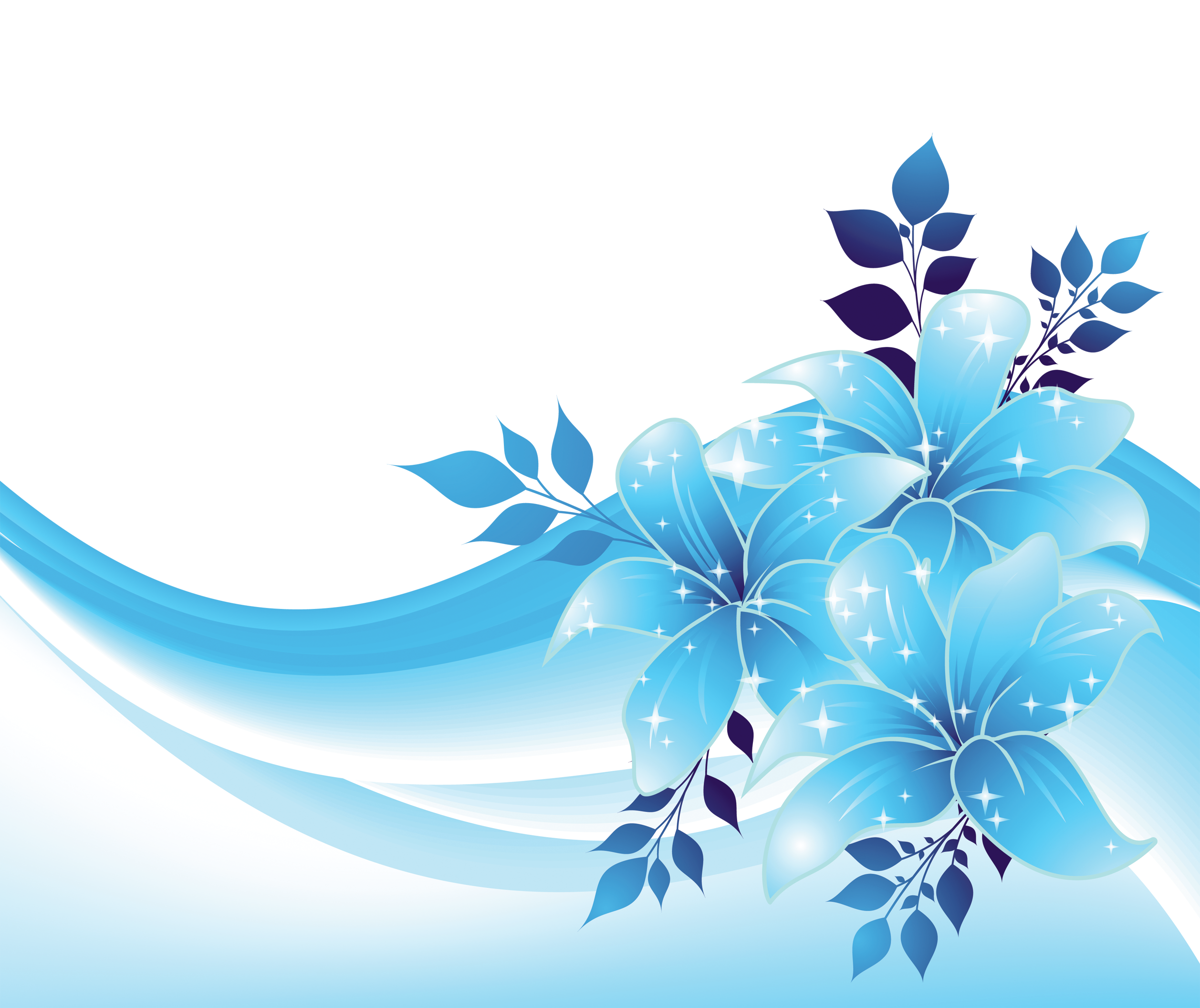 Blue decoration with flowers. Clipart grass translucent