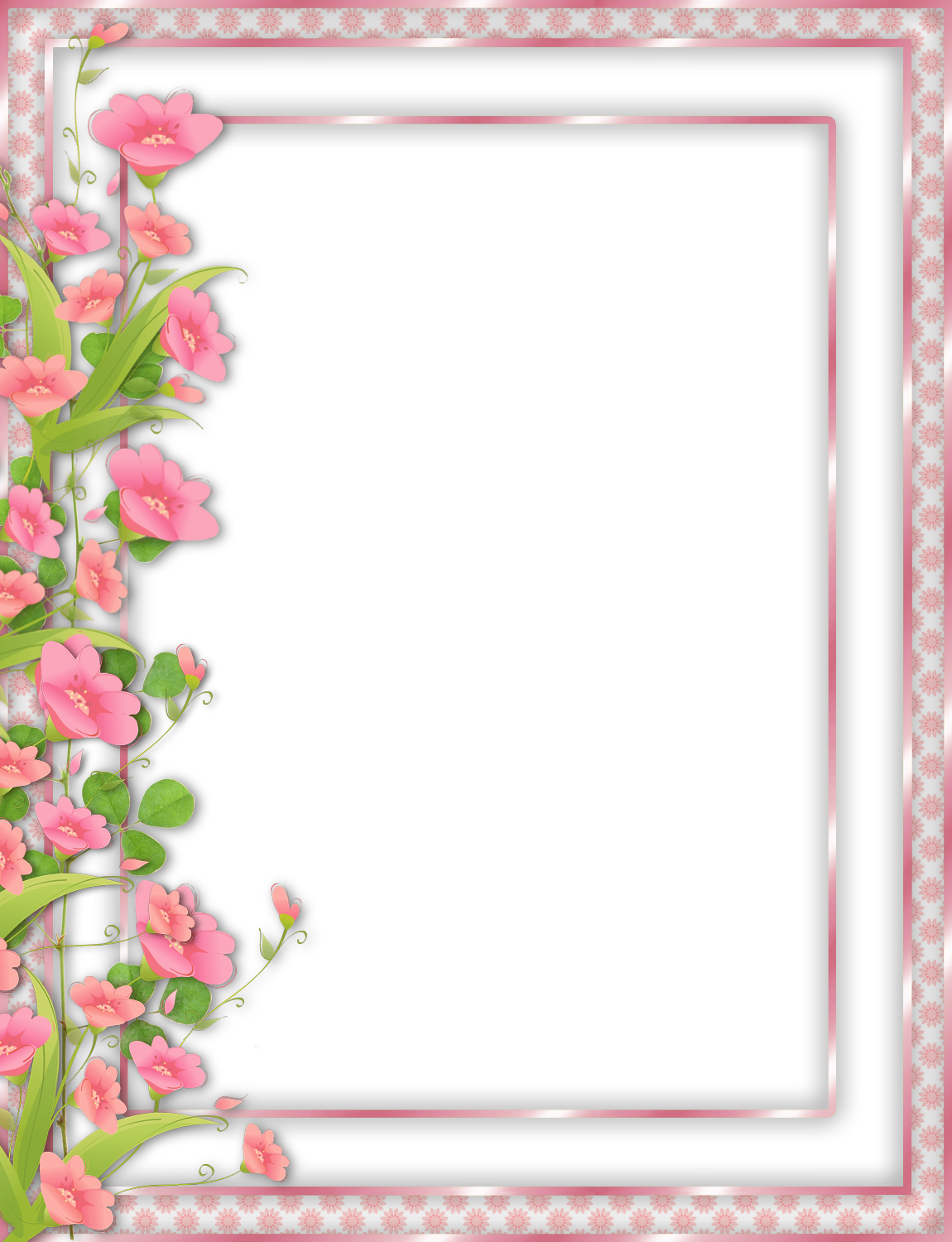 Png photo frame. Pink transparent with flowers