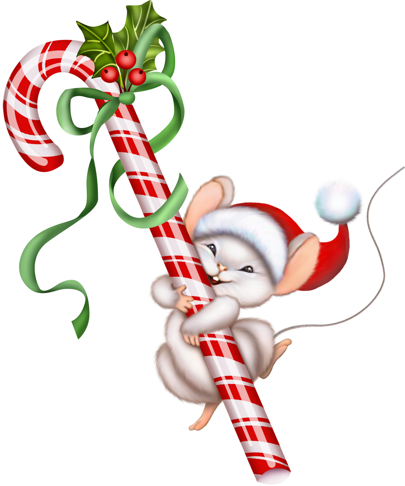 Words clipart candy. Christmas cane and mouse