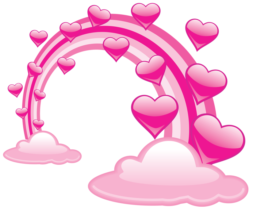 Hearts clipart cloud. Pink valentine clouds with