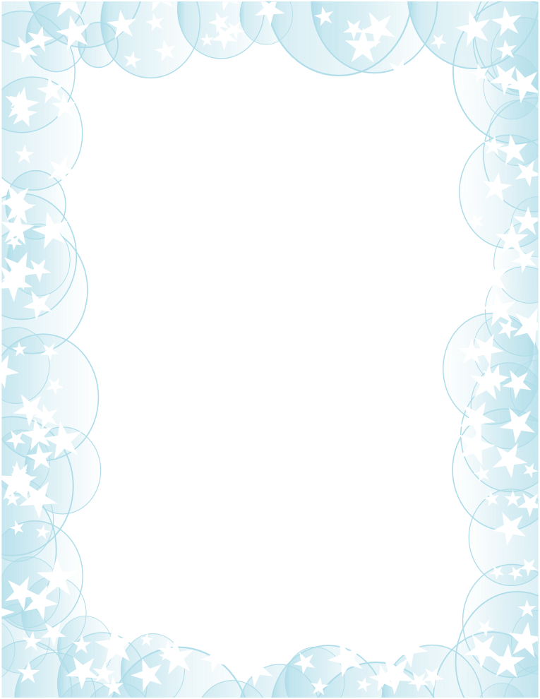 White stars with bubbles. Clipart dolphin border paper