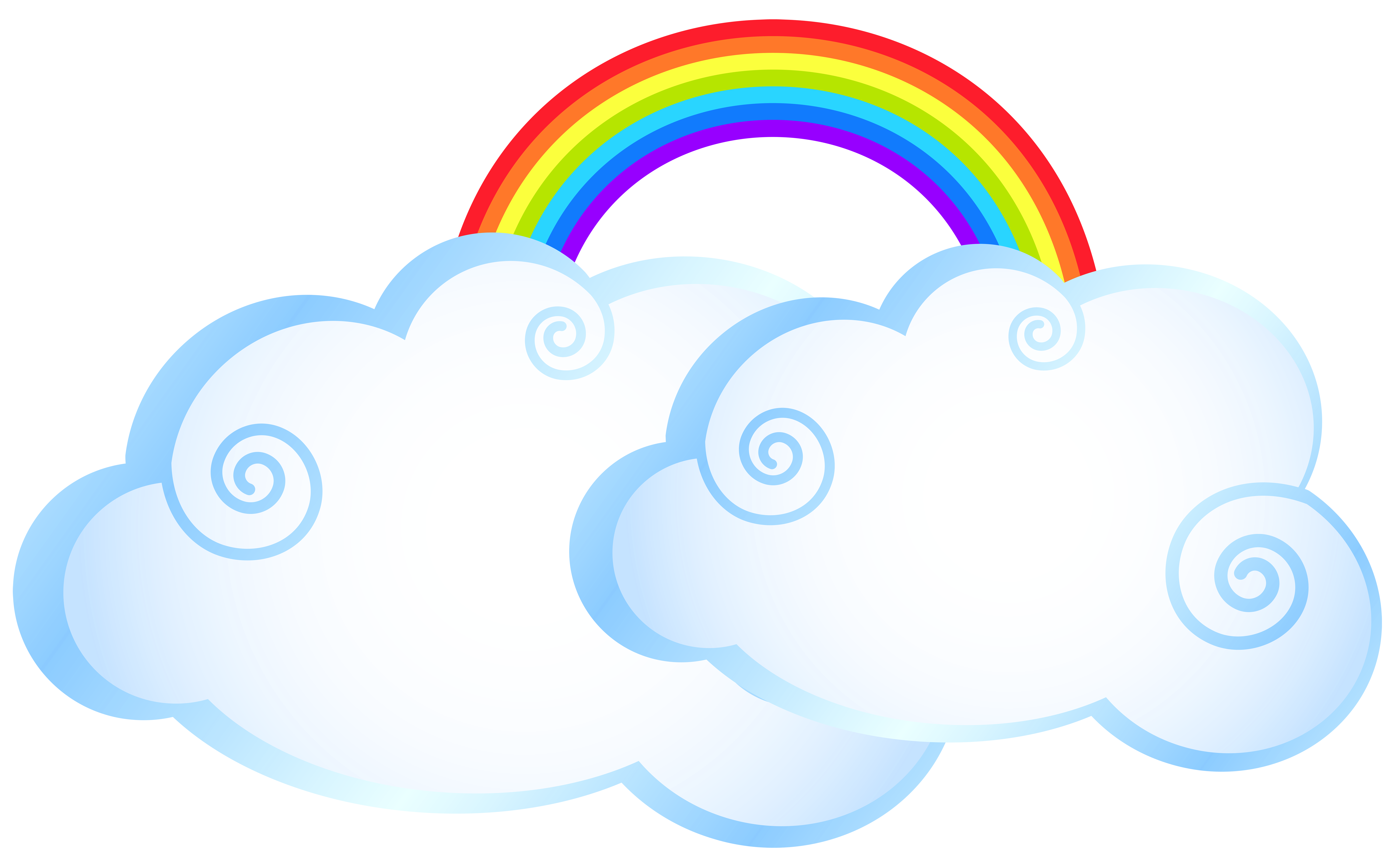 Rainbow with clouds transparent. Cloud clipart circle