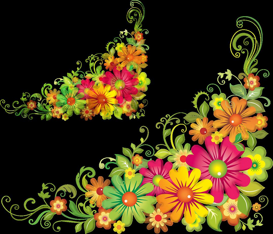 Garland clipart corner. Clip art colorful flower