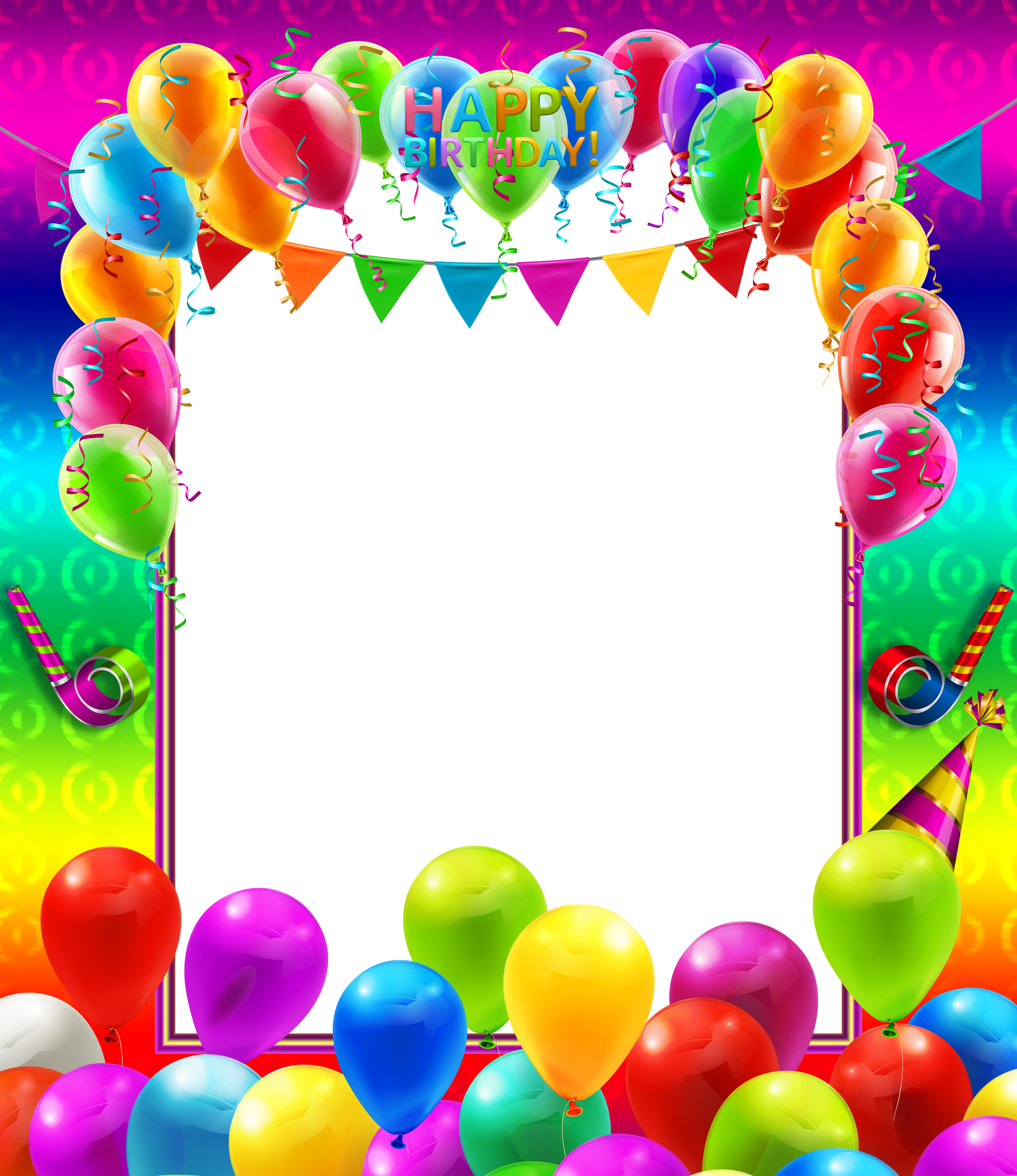 Colorful border png. Happy birthday transparent frame