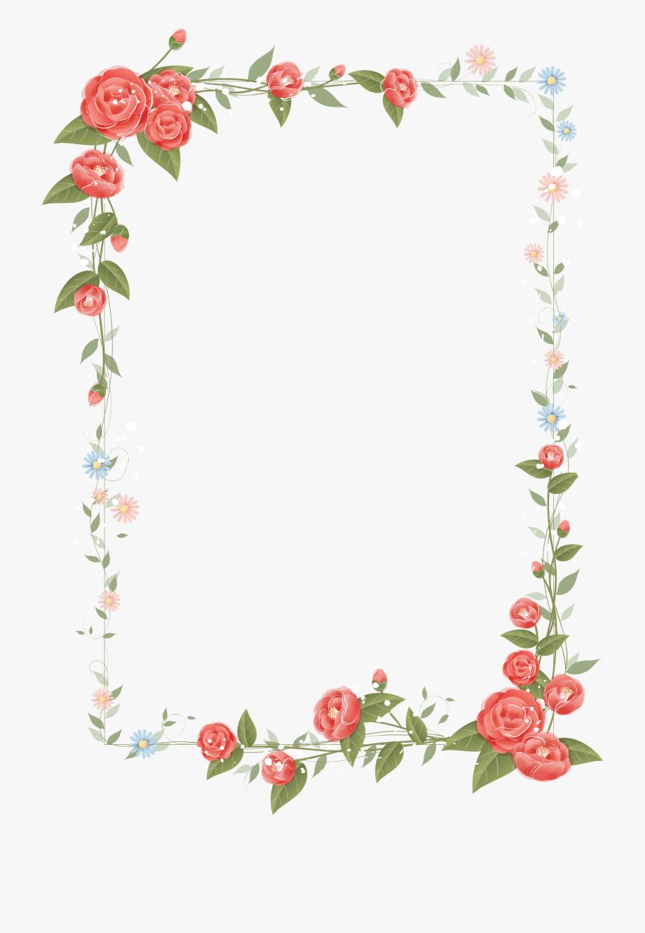 Rose frame design floral. Frames clipart flower