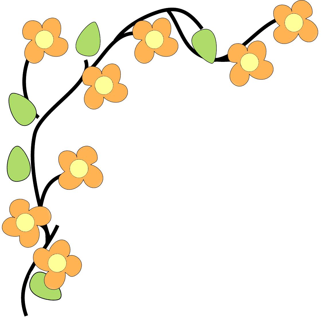 Flower border corner clip. Vector flowers png