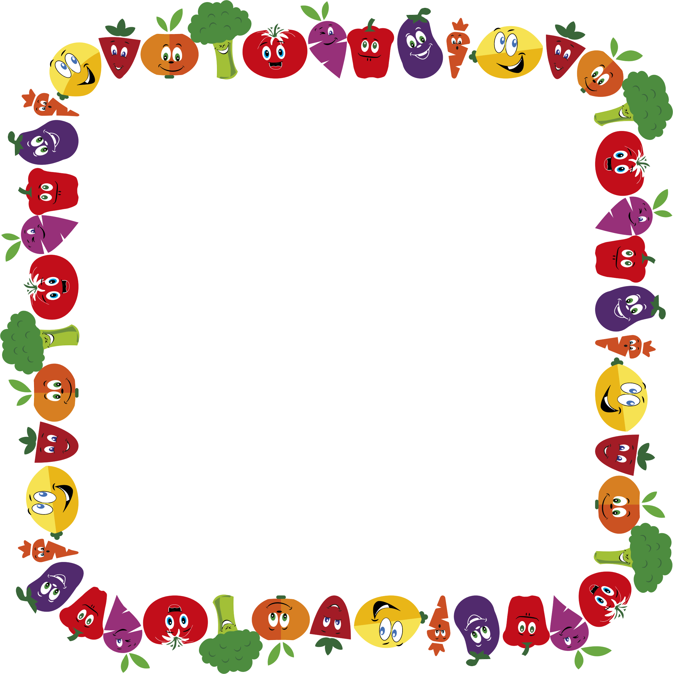 Vegetables clipart boarder. Anthropomorphic fruits and frame