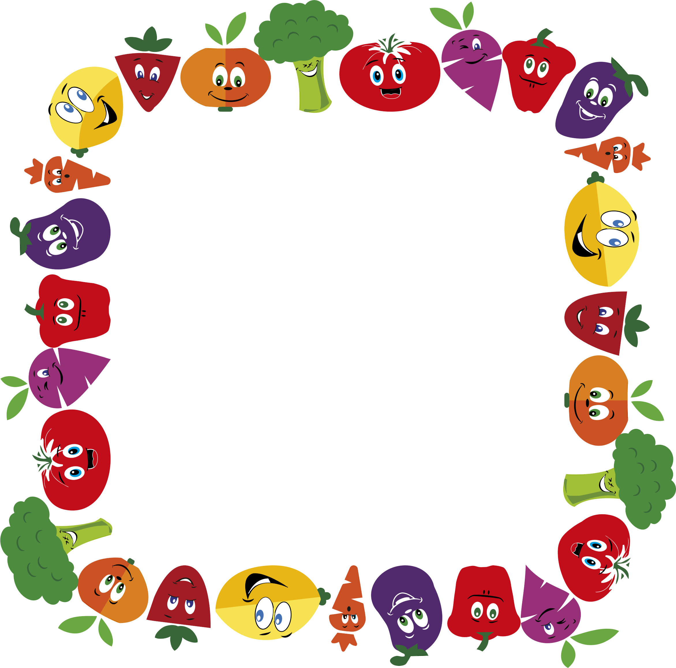 Anthropomorphic fruits and frame. Vegetables clipart boarder