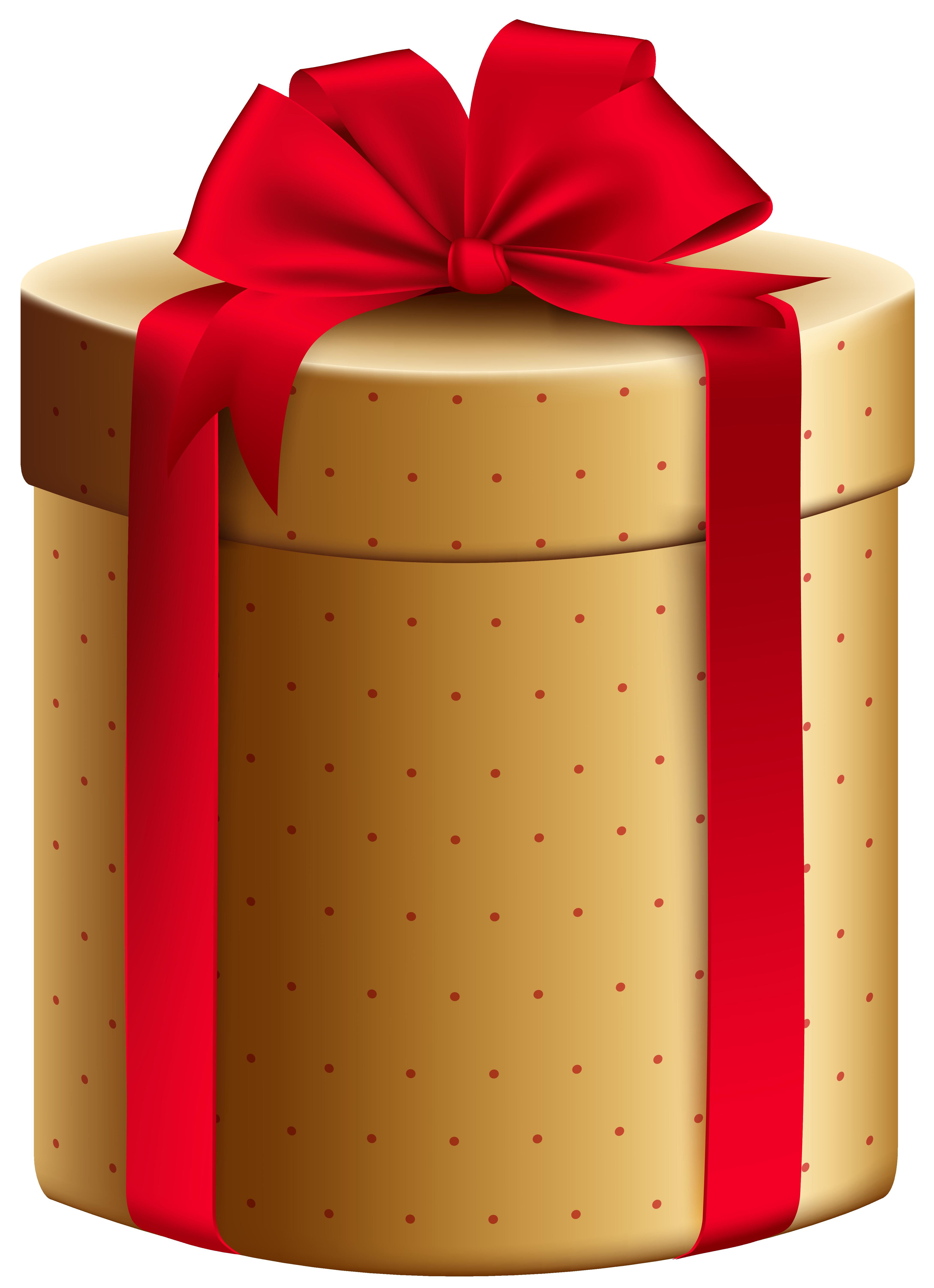 Gold red gift box. Clipart present orange