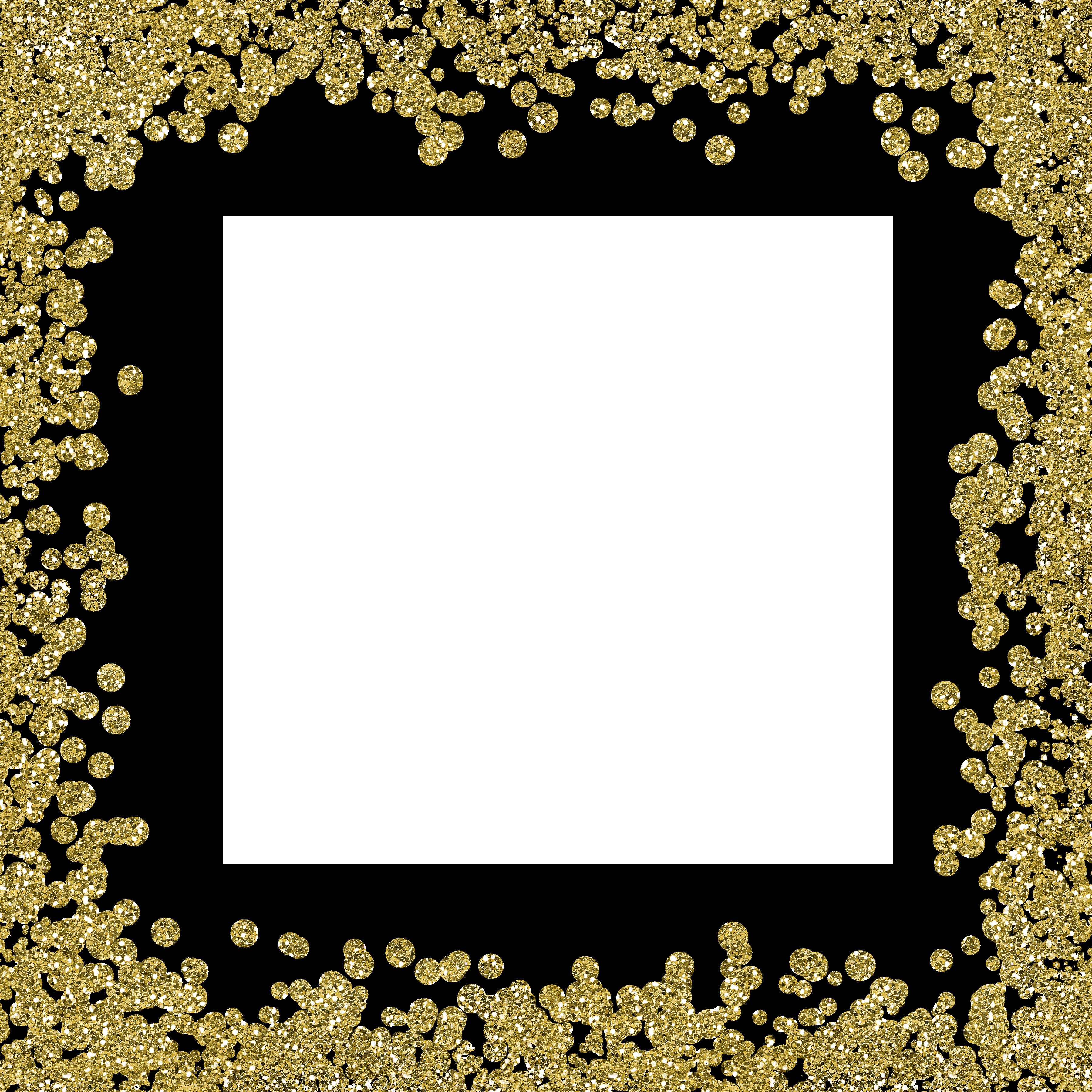 Glitter border png. Wedding invitation gold clip
