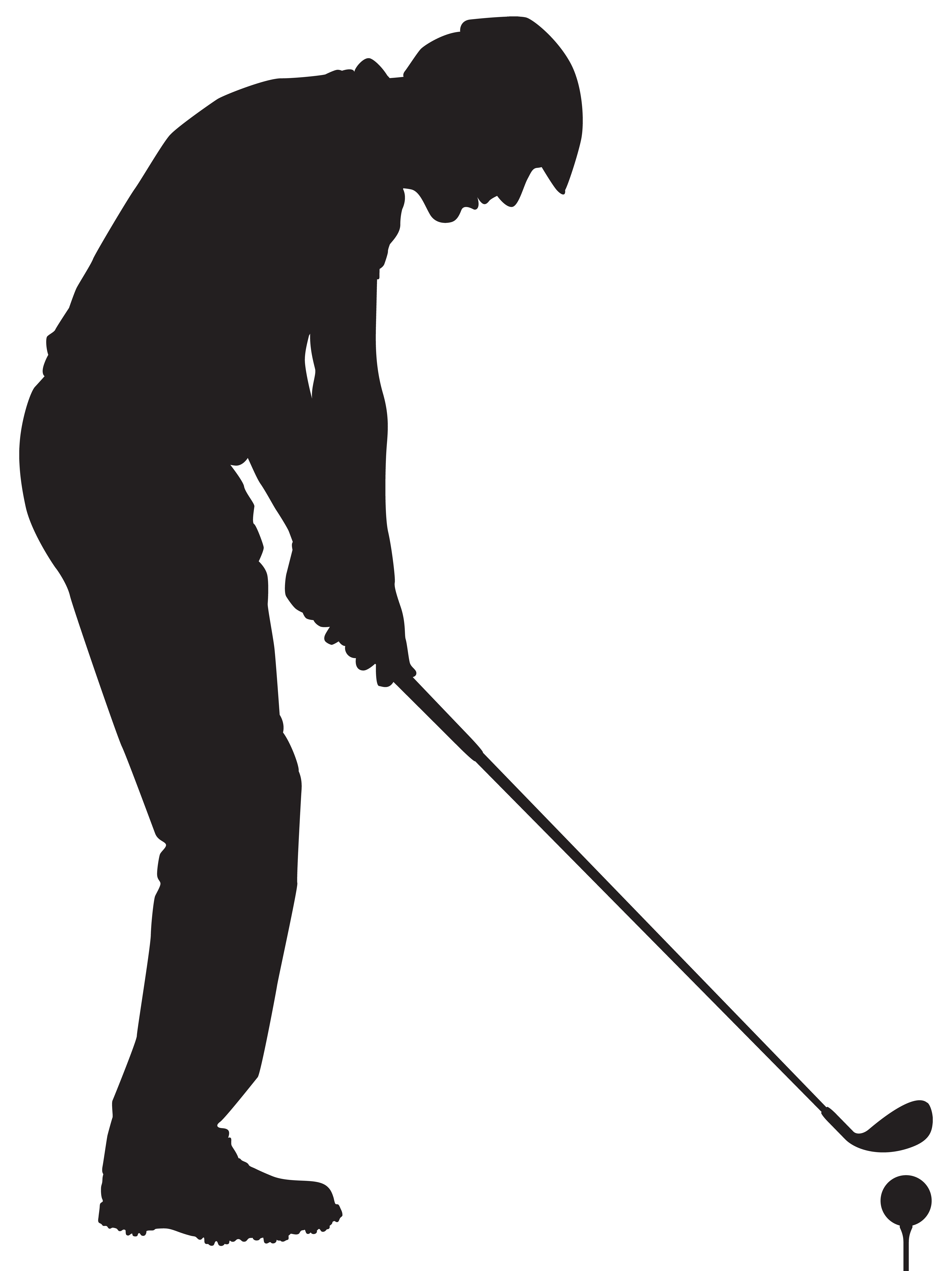 Man playing golf silhouette. Golfer clipart male golfer