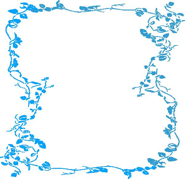 Clipart frame blue flower. Malibu floral border clip